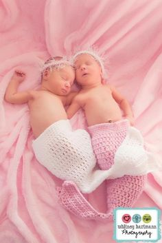 TWIN Photo Prop  Mermaid  Cocoon  Pink  White  by pixieharmony, $49.95