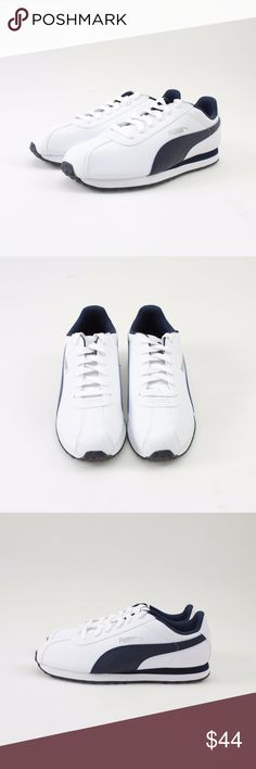 PUMA Turin White & Peacoat Sneakers // Size 7.5 Soccer-inspired and street-ready! Synthetic leather upper EVA midsole for cushioning Rubber outsole for grip PUMA Formstrip at lateral and medial sides PUMA No. 1 Logo at tongue and lateral side  These shoes brand new and come in the original box. Photos show all details, so please look over thoroughly.  #24WKSD // PUMA // Turin // Classic // Navy White Puma Shoes Sneakers