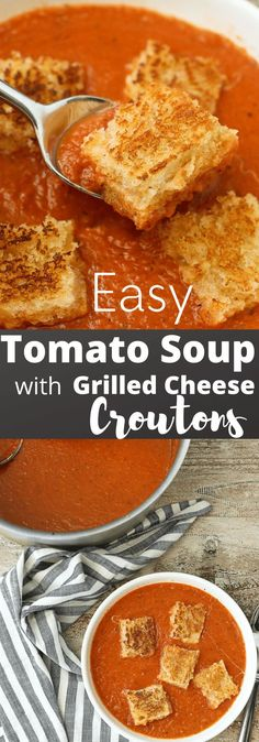 This Easy Tomato Soup with Grilled Cheese Croutons recipe is SO FUN and is a lunch or dinner recipe idea that's healthy and the whole family agrees on.