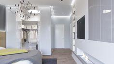 dressing moderne blanc, cheminée décorative et éclairage indirect blanc dans la chambre grise