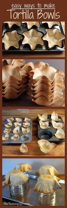 How to Make Tortilla Bowls Cups in a variety of sizes Detailed photos make this easy method foolproof Tortilla Bowls, Tortilla Maker, Tortilla Shells, Earth Day Drawing, How To Make Tortillas, Make Your Own, Make It Yourself, Spanish Dishes, Taco Bar