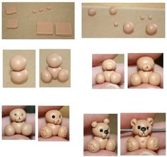 How to make a Teddy bear out of Polymer clay, visual step by step.