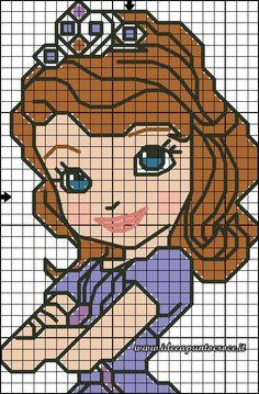 schema Sofia 35 punti Sofia The First Cartoon, Cross Stitch Patterns, Crochet Patterns, Disney Pixar, Pixel Art Templates, Cross Stitch Pictures, Stitch 2, Tissue Box Covers, Cross Stitching