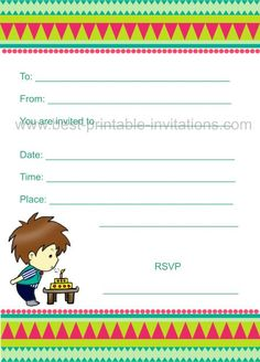 Birthday Invitations for Kids - Boy party invite. Free printable from www.best-printable-invitations.com