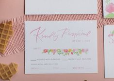 Watercolor RSVP card Sorbet, Rsvp, Place Cards, Wedding Invitations, Place Card Holders, Watercolor, Masquerade Wedding Invitations, Watercolor Painting, Wedding Invitation Cards