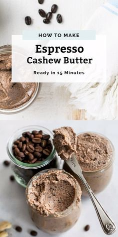 If you like coffee and nut butter, you must make this Espresso Cashew Butter! This easy and healthy recipe is made with espresso beans, cashews, a hint of cocoa and no added sugar making it Whole30® friendly. Homemade cashew butter is one of the easiest things to make and there are tons of uses for it! You can make desserts like cashew butter cookies, snacks like protein bars and or stuff dates with the cashew butter for a paleo, no added sugar dessert. Re Healthy Desayunos, Healthy Foods To Eat, Healthy Desserts, Dessert Recipes, Healthy Recipes, Oreo Desserts, Healthy Baking, Recipes With Dates Healthy, Vega Protein Recipes