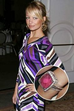 Nicole Richie's first engagement ring, pink sappire
