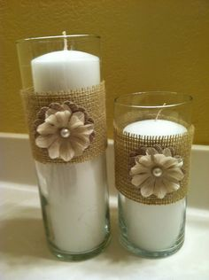 Set of 2 Candle vases with burlap and flowers.maybe use a dark red flower. Diy Candles, Candle Vases, Pillar Candles, Candleholders, Burlap Fabric, Burlap Crafts, Burlap Flowers, Diy Projects To Try, Rustic Wedding