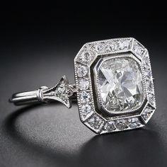 Carat Antique Style Cushion-Cut Diamond Ring at Cushion Cut Diamond Ring, Cushion Cut Diamonds, Diamond Rings, Diamond Jewelry, Antique Style Engagement Rings, Diamond Engagement Rings, Vintage Rings, Vintage Jewelry, Multi Coloured Rings