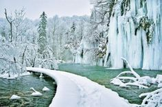 Plitvice Lakes in the Winter - Bing Images Beautiful World, Beautiful Places, Beautiful Scenery, Plitvice Lakes National Park, Thousand Islands, Central Europe, Fantasy Landscape, Trees To Plant, Mother Nature