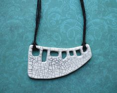 Black & white ceramic statement necklace, handmade contemporary jewelry, gift for best friend