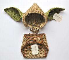 Yoda Hat & Diaper Cover Baby Prop Set - ( yoda baby costume star wars baby newborn gift set hat newborn costume babyshower baby hats baby)