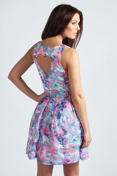 Lenora Heart Back Skater Dress In Floral Print