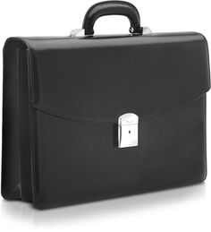Pineider 1949 - Black Calfskin Double Gusset Briefcase Briefcase, Travel Bags, Suitcase, Dust Bag, Gift Wrapping, Classic, Gifts, Black, Travel Handbags