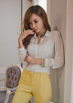 White Pleated Sheer Blouses Shirts Women Tops Clothing Korean Fashion