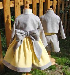 tenue de ceremonie d'hiver jaune et grise