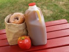 apple cider and donuts...my favorite part of autumn.    Always had these together....childhood memory.