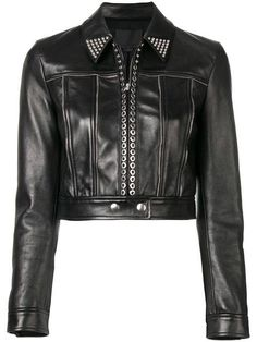 ALEXANDER WANG | Fitted Moto Jacket - Black | $3,088 | American fashion designer Alexander Wang is famed for his ability to infuse casual pieces with his own signature edge. This black lambskin fitted moto jacket features a collar style, a front zip fastening, silver-tone stud detailing, stitched panels, a cropped length, a long length, snap button cuffs and zip detailing.. | Outer: Lamb Skin 100%. Lining: Viscose 57%, Polyester 43%.. | farfetch.com