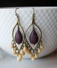 NEW Bronze Cream Purple Chandelier Earrings  Violet by SoleilGypsy