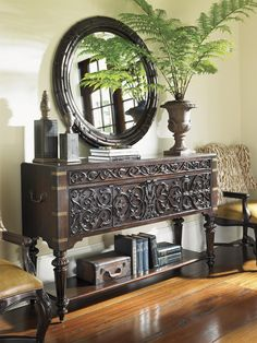 Tommy Bahama Home Island Traditions Traditional Mercer Sideboard with Dining Storage and Intricate Relief Carvings