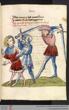 Cod. Pal. germ. 339  Wolfram von Eschenbach  Parzival (Band 1)   Hagenau - Werkstatt Diebold Lauber, um 1443-1446 Seite: 135r Parzival erlöst kämpfend Pelrapeire