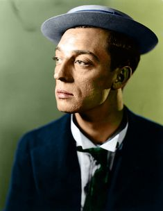 Colourised 1925 portrait of Buster Keaton