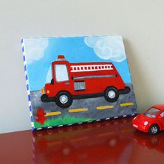 Fire Engine!   Acrylic canvas painting.  Boys will be boys and they will love fire trucks!