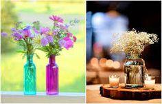 Resultado de imagem para arranjos de mesa para casamento com garrafas