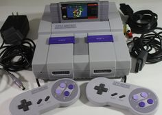 Super Nintendo SNES Console Retro Video Gaming System, 2 Official Controllers, Super Mario World Game Cartridge & Cables: Plug in and Play! - pinned by pin4etsy.com
