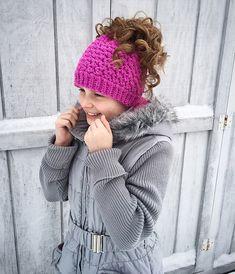 Ravelry: Kaycee Ponytail or Messy Bun Beanie Hat crochet pattern by Crochet by Jennifer
