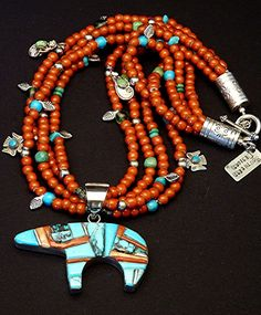 Two-Sided Inlaid Navajo Bear Pendant with Four Strands of White Heart Beads, Mixed Turquoise, Handcrafted Charms & Sterling