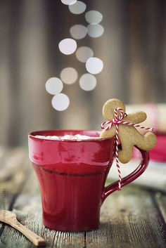 Hot chocolate with mini gingerbread man by RuthBlack | Stocksy United