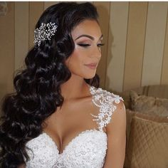 Beautiful @enza_joey hair done by me makeup by @lauren_damelio headpiece by @bridalstylesboutique