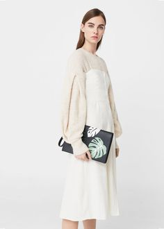 Leaves lapel clutch | MANGO Minimal Fashion, Lace Skirt, Knitwear, Mango, Leaves, Style Inspiration, Women Bags, Pullover, Knitting
