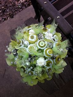 Green & White Button Bouquet.