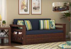 Sereta Sofa Cum Berth (Queen Size, Indigo Ink, Walnut Finish) Sofa Come Bed Furniture, Wood Furniture, Queen Size, King Size, Wooden Couch, Wooden Sofa Designs, Wooden Street, Couch Design, Beds Online