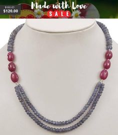 3mm-4mm Double Strand Faceted Tanzanite and Ruby Gemstone Beaded Necklace -Free Earrings *********************************************************************************************************** *Stone : Tanzanite and Ruby *Origin- Tanzania and African Mines *Treatment - Nil and