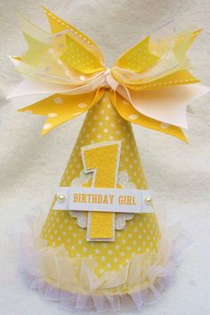 Sunshine and Lemonade Party Hat in Pale Yellow and White Polka Dot. $13.50, via Etsy.