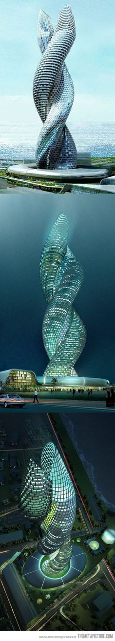 Cobra Tower in Kuwait - I don't know if I would travel to Kuwait, but it would be cool to see this building one day