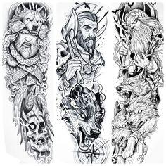 Celtic Sleeve Tattoos, Viking Tattoo Sleeve, Best Sleeve Tattoos, Viking Tattoos, Norse Mythology Tattoo, Greek Mythology Tattoos, Card Tattoo Designs, Tattoo Design Drawings, Full Sleeve Tattoo Design