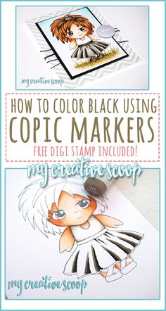 How to Color Black using Copic Markers - Follow my Copic Marker Tutorial and download free digi stamp and follow along-step by step Copic Marker tutorial