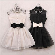 With belt 2015 New Arrival Fashion Pearl Diamond Casual Dress Small Lapel Gauze Waist Tutu Party One-piece girl cute dress(China (Mainland))