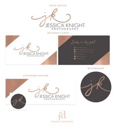 Rose Gold Foil Initial Photography Logo