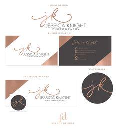 Rose Gold Foil Initial Photography Logo Design Rose Gold Brand Kit Marketing Kit Business Card Design