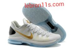 Lebron11s.com Wholesale Kevin Durant Sneakers V Low KD 5 Elite PS White Metallic Gold Pure Platinum 585385 100 Discount To $62.49