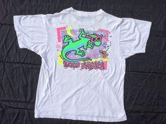 90s Neon Gecko Nights Hawaii T-Shirt. Radical Sunglasses Surf Gecko Tee, Made in U.S.A.