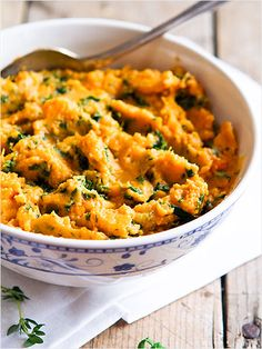 Kale and Goat Cheese Mashed Sweet Potatoes - a delicious, healthy touch! http://www.ivillage.com/kale-recipes-thanksgiving/3-a-551669