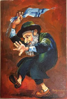 Hasidic Jew Dancing by Olga Magazanik Original acrylic painting on canva Simchat Torah, Native American Girls, Jewish Art, Dancing In The Rain, Judaism, Love Painting, Beautiful Paintings, Art Boards, Cute Art