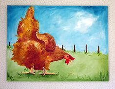 Chicken Art 30x40 Painting by LoganBerard on Etsy
