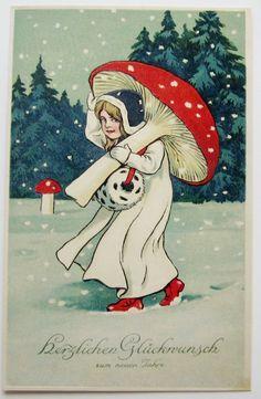 New Year Fantasy Girl in White Carries Muff Red Mushroom Postcard   eBay